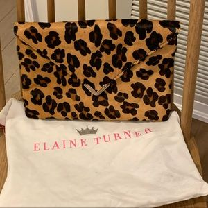 Elaine Turner Leopard Print/Calf Hair Clutch